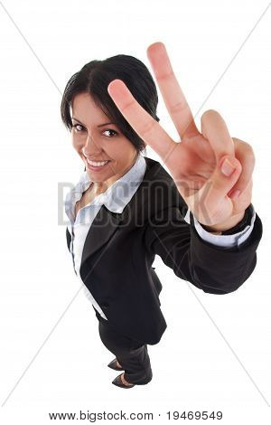 Attractive Business Woman Making Victory Sign