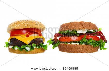 American favorite foods a juicy cheeseburger and a BLT sandwich