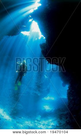 Diver and sunlight