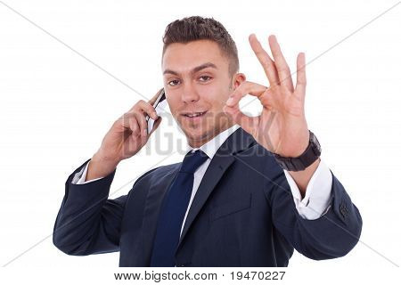 Businessman On The Phone Approving