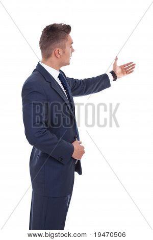 Geschäftsmann präsentieren und anzeigen