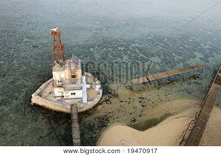 A lighthouse from air