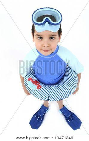 Süsser Boy bereit, Schwimmen und Tauchen, isolated on white Background.