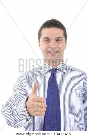 Business man reaching out shaking hand to seal a deal.