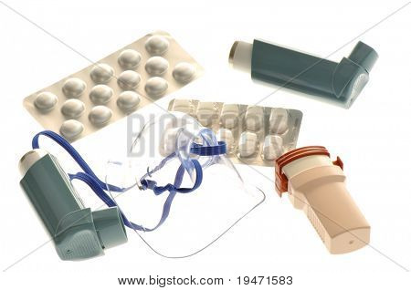 Close up image asthma treatment medicine. White background studio picture.
