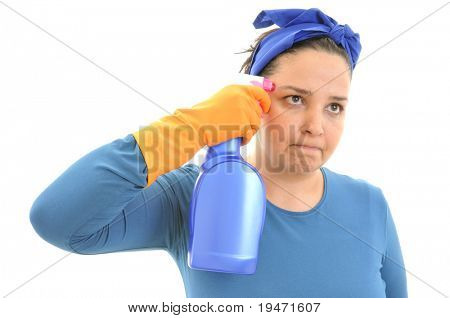 """House works are killing"" concept. Cleaning lady with a gun like spray detergent in her hands. White background studio picture."