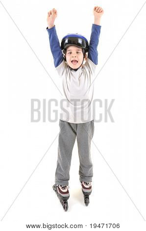 White background studio image of a cute skater boy ready to ride on roller skates.