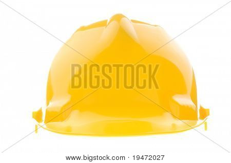 High resolution studio image of a yellow hard plastic helmet from front isolated on the white background