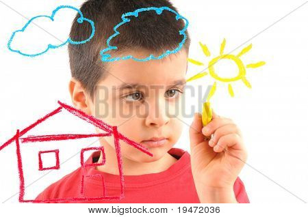 Adorable 6 years old boy painting a house on glass. White background high resolution studio image.