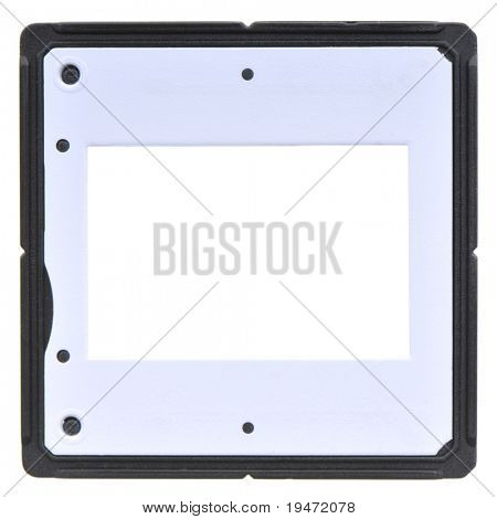 High resolution white background macro studio image of a blank 35mm slide frame on light-box
