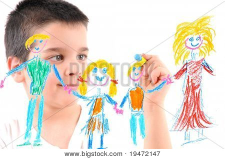 Adorable 6 years old boy painting his family on glass. White background high resolution studio image.