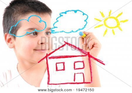 Adorable 6 years old boy painting a house, sun and clouds on glass. White background high resolution studio image.
