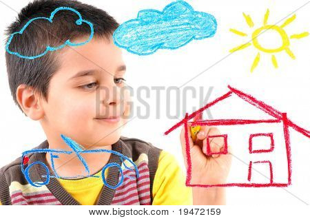 Cute boy painting a house, car, sun and clouds on glass. White background high resolution studio image.