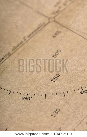 High resolution close up studio image of an ancient sailing map