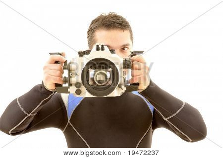 White background studio image of an underwater photographer