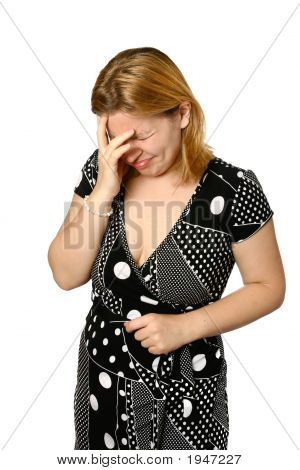 Woman Upset Facial Frown And One Hand Shielding Face