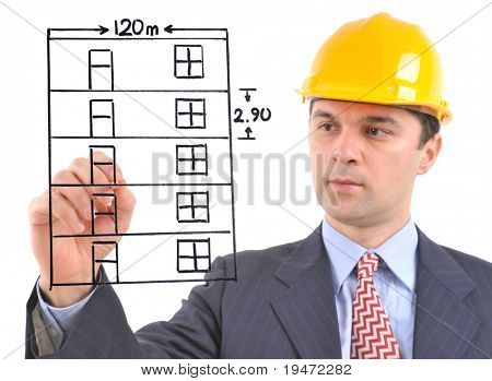 White background studio image of a architect drawing a building on glass