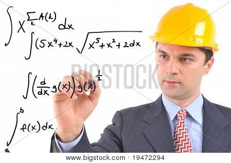 White background studio image of a architect writing formula on glass
