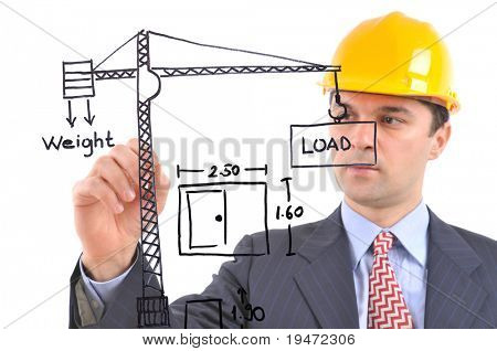 White background studio image of an architect drawing construction plant on glass