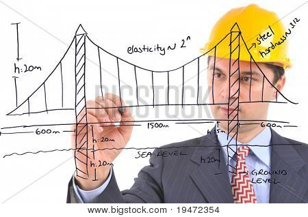 White background studio image of an engineer drawing suspension bridge on glass