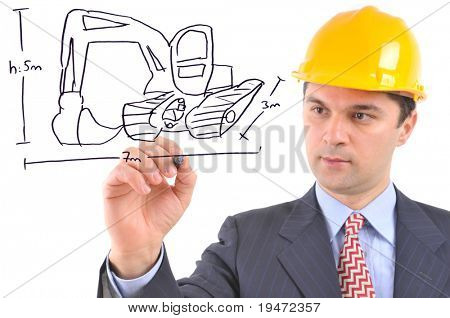 White background studio image of an engineer drawing an excavator on glass