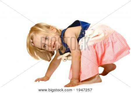 Girl Toddler Plays Isolated