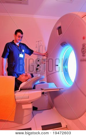 Magnetic Resonance Imaging machine -a series of dramatically lightened MRI.