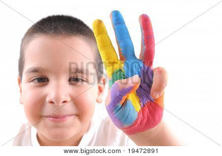 Colorful hand with three fingers up and soft focused cute boy at the background - High resolution, white background, studio image.