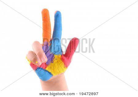 Mano colorida con 3 dedos hacia arriba - alta resolución, fondo blanco, la imagen de studio.