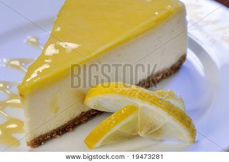 A slice of lemon cheesecake.