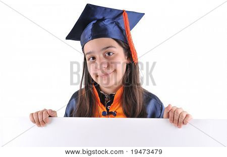 Little girl in cap and gown holding a blank signboard