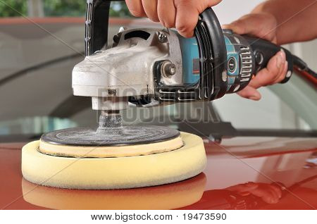 Car care with power buffer machine at service station - a series of CAR CARE images.
