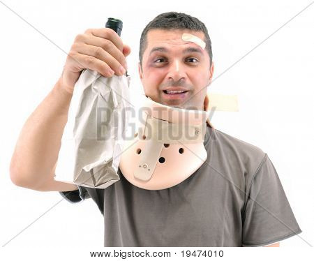 Alcoholic man with black eye wearing neck brace isolated on white.