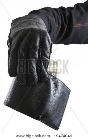 Thief's hand taking money from stolen wallet isolated on white background.