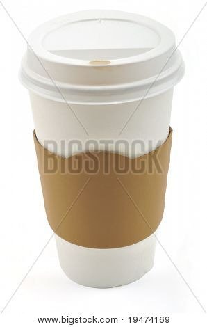 Paper coffee cup with safety cardboard collar on a white background