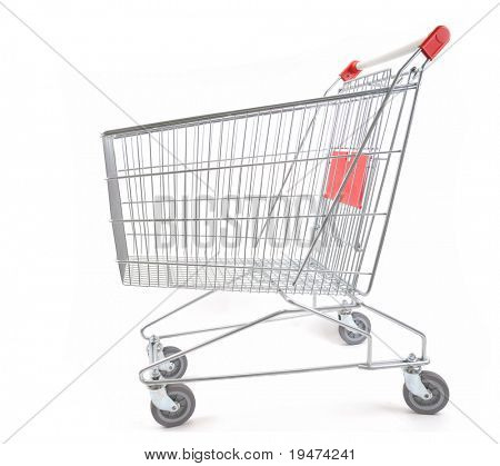 Empty shopping cart viewed from side - a series of SHOPPING TROLLEY images.