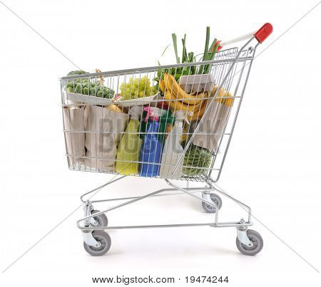 Shopping trolley viewed from side - a series of SHOPPING TROLLEY images.