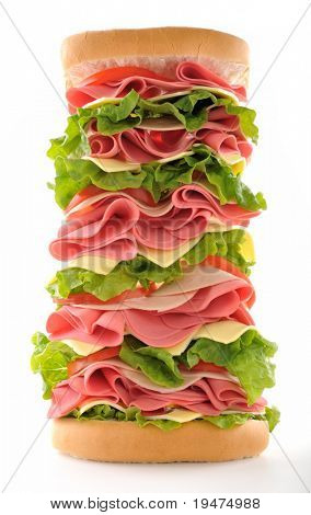 Big sandwich taken with distorted fish eye lens isolated on white background.