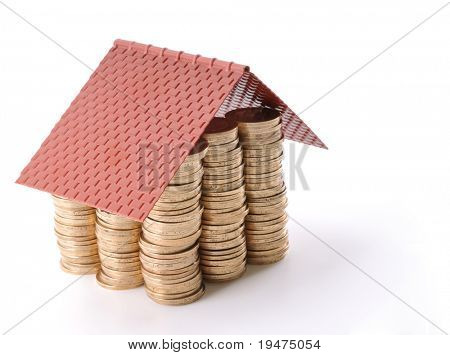 Saving to buy a house concept - a series of COIN HOUSE images.