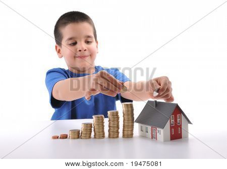 Saving to buy house concept - a series of COIN HOUSE images.