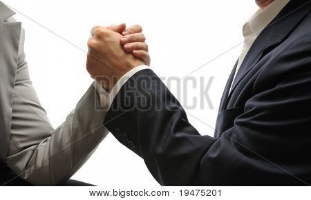 Side view of  businessman and businesswoman arm wrestling isolated on white background.