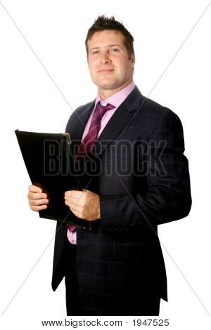 Confident Businessman With Black File