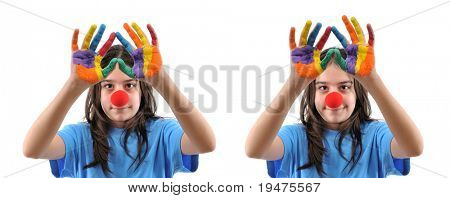 Two images of teen girl with hands painted in colorful paints, one smiling, the other not - SEE MORE RELATED IMAGES.
