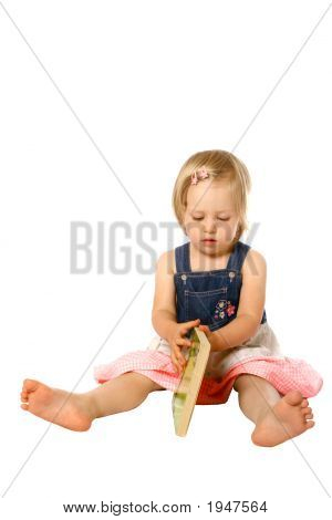 Girl Toddler Opening Book Isolated