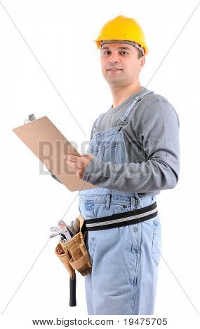 Construction worker with clipboard on hand over white background - a series of MANUAL WORKER images.