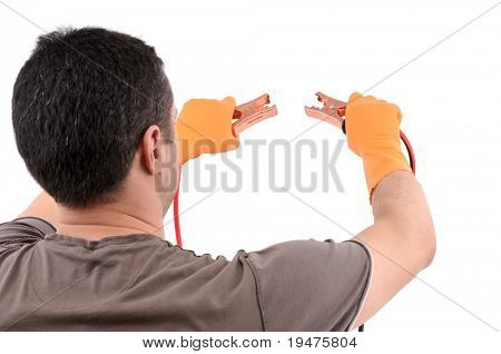 Manual worker using jumper cable isolated on white background - a series of MANUAL WORKER images.