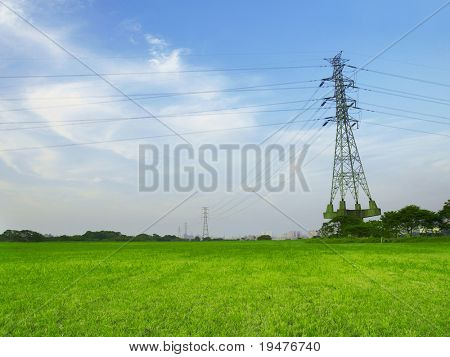 Electric towers in countryside