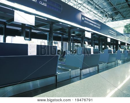 Check in counter in airport