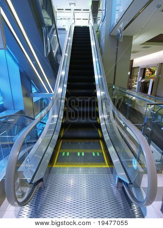 Escalator in department store