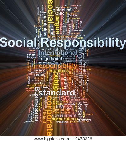 Ilustração de wordcloud de conceito de fundo de luz brilhante de responsabilidade social